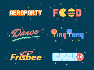 Aeroparty Titles typography pong ping hamburger food lettering pixelated 8-bit pixel titles