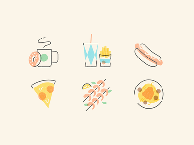 Mid-century Food 2 spaghetti donut coffee pizza shrimp hot dog food icons vintage mid-century
