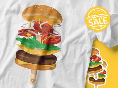 [Sale & Free Shipping] Summerburger Tees & Stickers behance levitate floating popsicle food burger hamburger threadless t-shirt sticker tee
