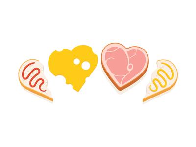 Ham & Cheese: True Love ketchup mayo sandwich food bread saint valentines st love cheese ham