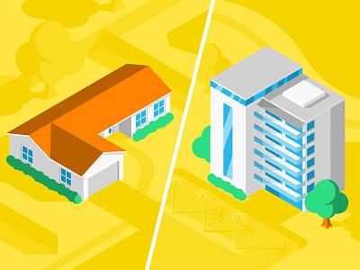 Clara: House vs. Condo blog simple flat isometric building home condominium condo house