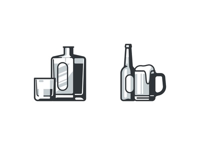 Whisky & Beer glass chop bottle drink whiskey alcohol bar icons beer whisky