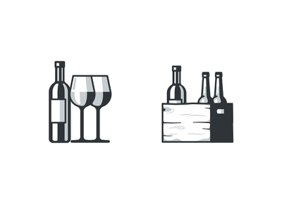 Wine & Delivery illustration glass box wood beer bottle icons wine