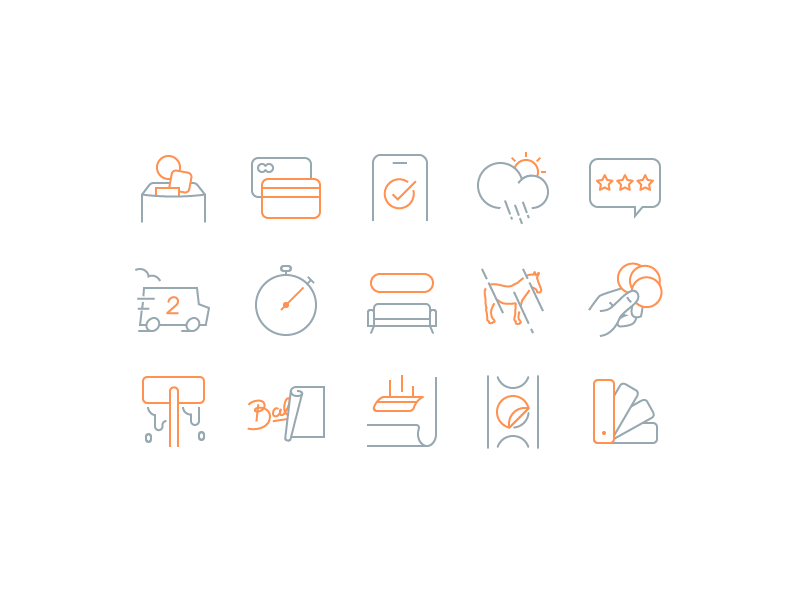 New iconography system! iconography stroke pixel perfect couch system truck weather card credit mule sticker icons