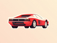 Ferrari Testarossa vintage sport gradient 1980 80s car ferrari sticker mule italia