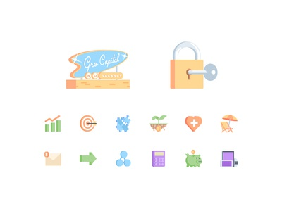 Grō Capital icons & illustrations pixel perfect money finance security googies illustration flat icons iconography