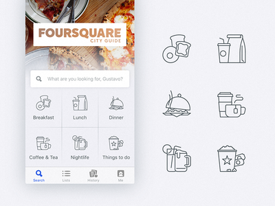 Foursquare Home Screen Icons meal foursquare breakfast lunch coffee movies food redesign icons iconography