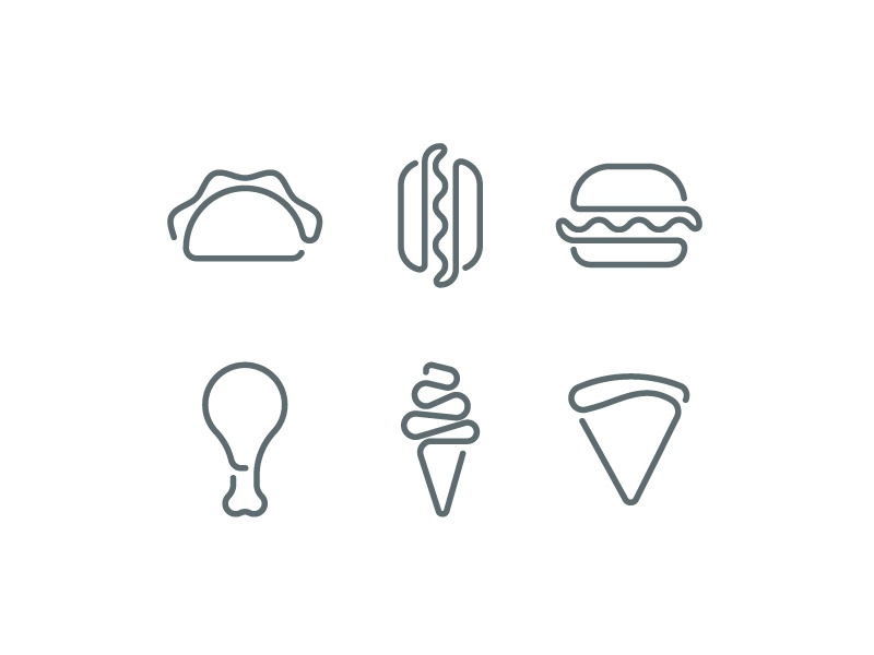 One Line Food slice pizza ice cream chicken hamburger hot dog taco food stroke icons iconoraphy
