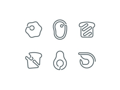 One Line Food 2 iconography icons food shrimp avocado cheese grilled bread ham beef meat egg