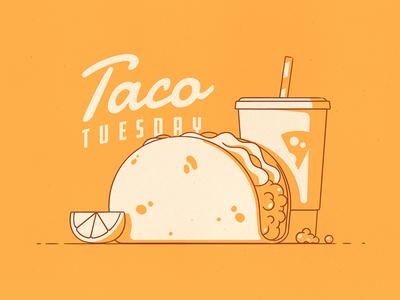 Taco Tuesday! fast soda light shadow stroke illustration mexican lemon drink tuesday food taco