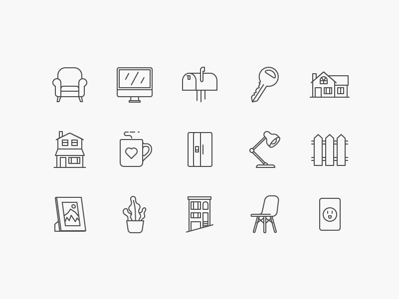 Clara: Home Icons for Pattern pixel perfect iconography stroke eames plant apartment living kitchen lamp chair home house