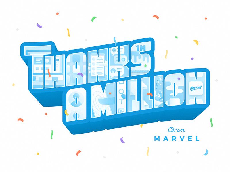 Marvel: Thanks A Million design mobile ux ui illustration greetings lettering prototyping marvel users