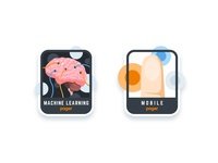 Pager: Machine Learning & Mobile Team sticker human badge brain touch finger mobile learning machine