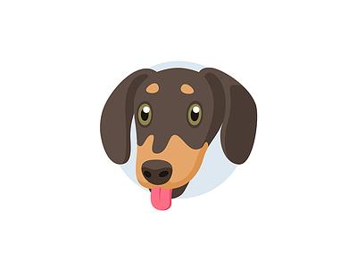 Rocky flat illustration head instagram avatar friendly happy face sausage dog dachshund