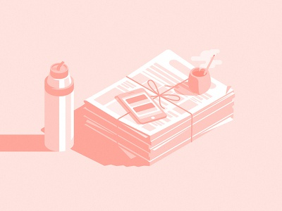 Mate & News flat isometric illustration light shadow morning thermo phone iphone newspaper argentina mate