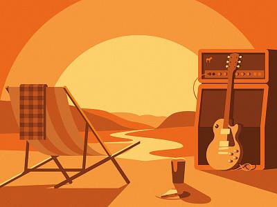 Sticker Mule Music Festival illustration sunset food slice pizza beer guitar chair landscape shadow festival music