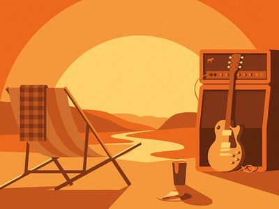 Sticker Mule Music Festival illustration sunset food slice pizza beer guitar chair landscape shadow festival music