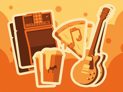 Sticker Mule Music Festival illustration monochrome shadow flat amplifier guitar cup beer slice pizza stickers
