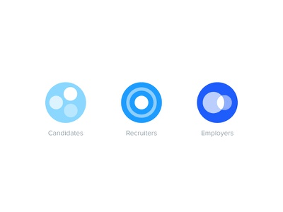 Candidates, recruiters & employers iconography job work profile blue circle concept icons employer recruiter candidate