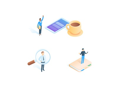 People & Jobs cup coffee illustration hero contact magnifier phone gradient isometric jobs people