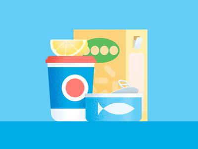 Rice & Tuna illustration simple lemon box noise grain food cheese cream rice can tuna