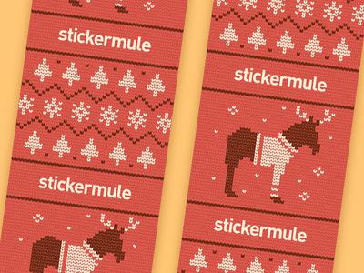 Holiday Tape knit illustration new year brand snowflake tree pattern tape sweater animal christmas holidays
