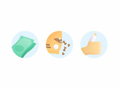 Mystery Project circle hand simple gradient illustration icons cash money packaging injury food dog