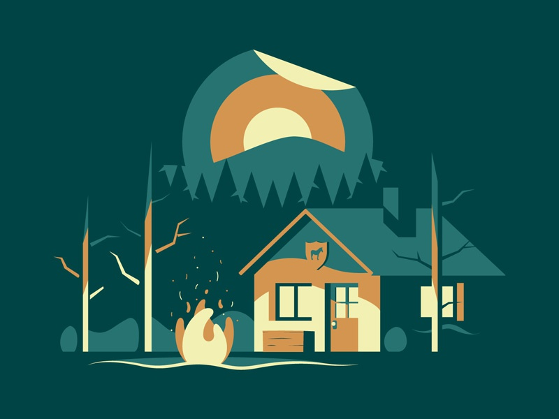 The Cabin mountain tree camp bonfire fire light sticker night sunset cabin