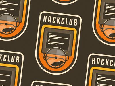 Hackclub code animal pet sticker badge patch vintage display hack hacker hamster