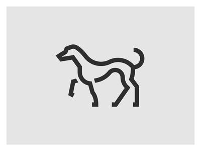 Family Dog animal stroke icon minimal family shield pet geometric doggo dog