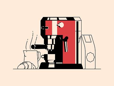 DeLonghi Dedica coffee machine espresso cafe croissant food breakfast morning shadow light illustration