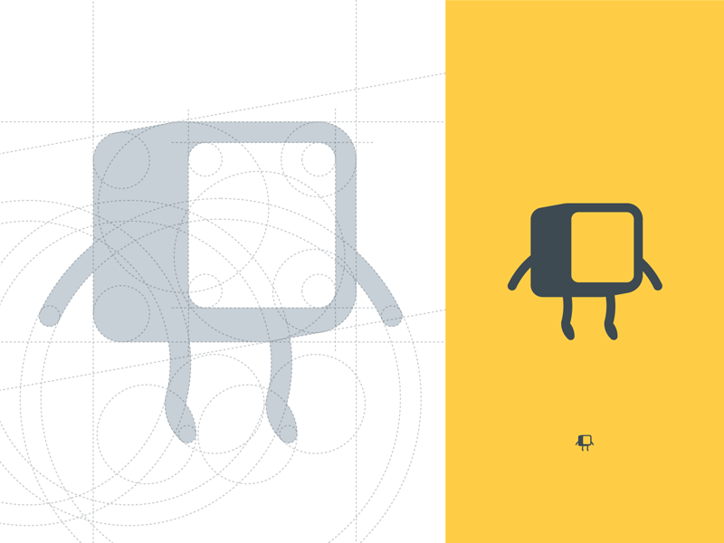 The grid illustration icon brand studio pixel character cube grid logo