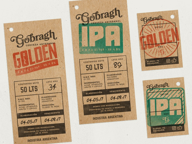 Gobragh: more tags print argentina vintage stamp golden ipa craft brewery beer tag