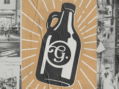 Gobragh: growler poster shadow light illustration brand logo poster street brewery craft beer growler