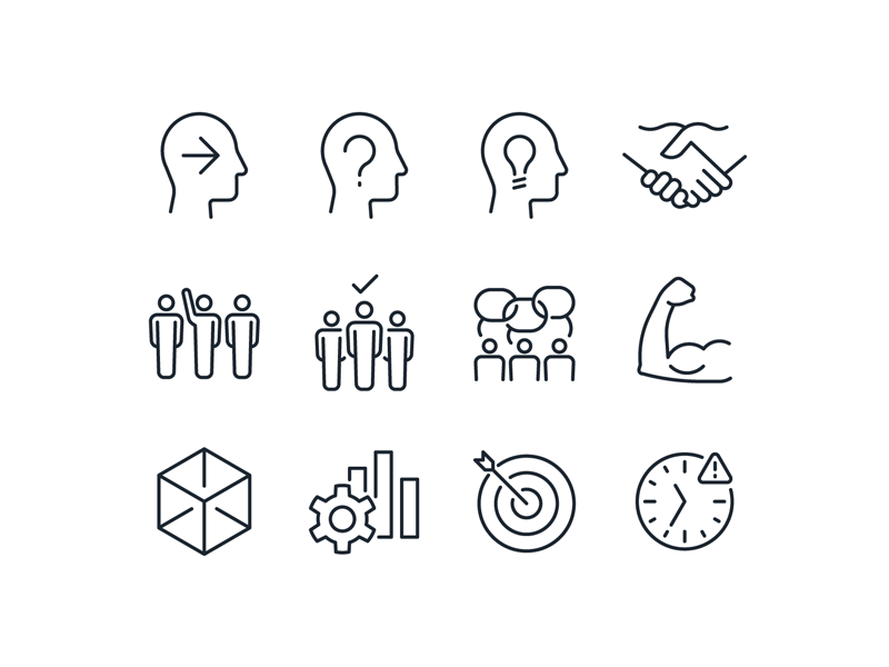 Values Icons muscle idea people stroke iconography icons bank values