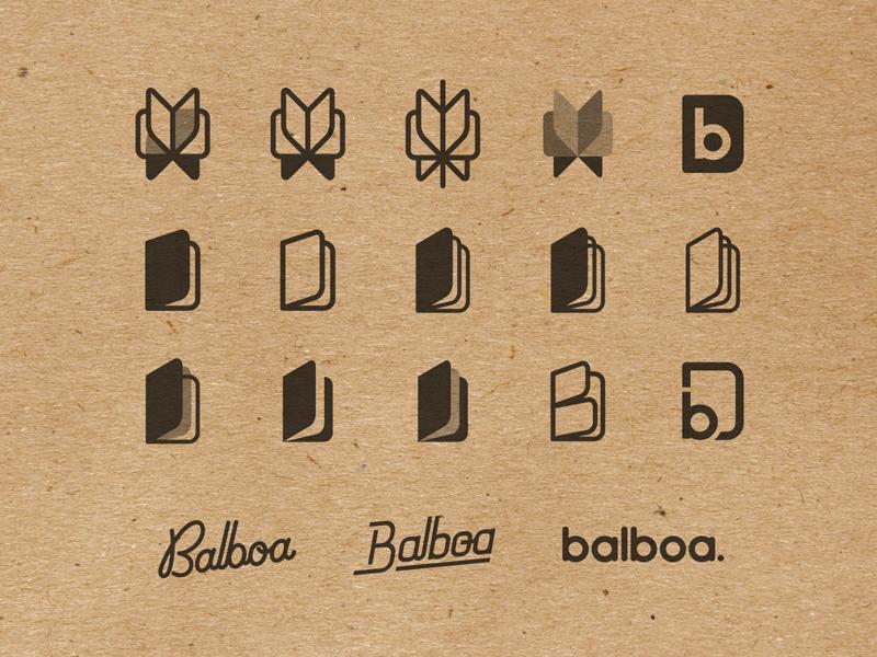Balboa: logo exploration mark lettering branding notebook icon paper craft brand logo