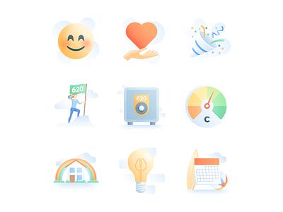 Clara: UI Illustrations state real heart icon gradient woman rainbow house ui illustration emoji