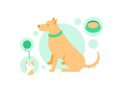Pets geometric flat food animal mascot doggo friend pet cat dog