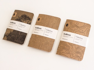 Balboa Clásica topography wood packaging print stationary stationery design pattern brand pocket notebook