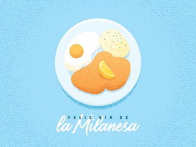 Feliz día de la Milanesa illustration lemon potatoes mashed egg grain plate food milanesa