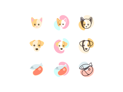 Pets Icons geometric cute food meat fish puppy kitty dog cat illustration icons iconography