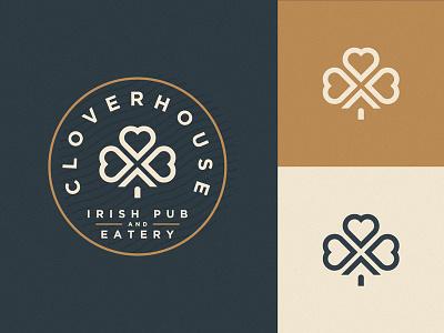Cloverhouse Logo brand badge heart eatery irish bar pub logo house clover