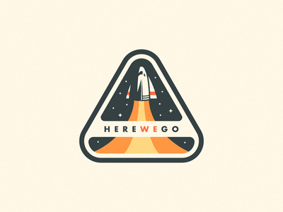 Here we go 🚀 sticker retro vintage illustration team stars ship badge space launch