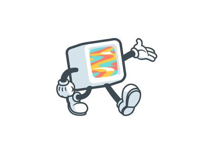 The Pal cuphead stroke illustration glitch brand box tv character vintage