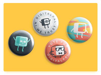 digitalpal buttons badge illustration print vote trust brand logo character skull pin button