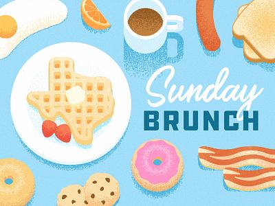 Texas Sunday Brunch food grain illustration egg coffee bacon donut toast breakfast brunch texas