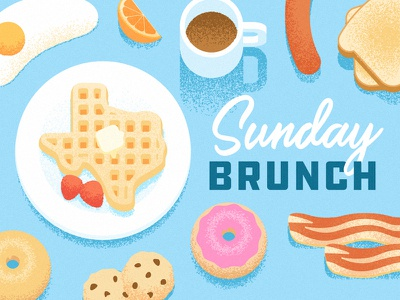 Texas Sunday Brunch food grain illustration egg coffee bacon donut toast breakfast brunch texas