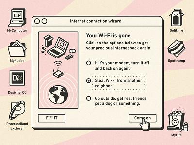 Your Wi-Fi is gone illustration notebook desktop mac windows vintage retro ui connection internet wifi wi-fi