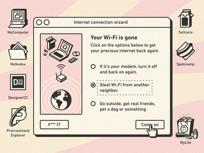 Your Wi-Fi is gone illustration notebook desktop mac windows vintage retro ui connection internet wifi wi-fi