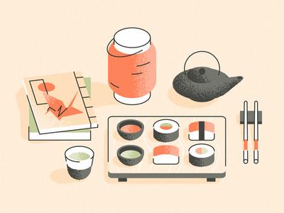 🇯🇵 food grain illustration oriental japanese culture book tea sushi japan